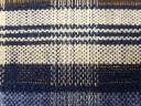 Blue linen / White cotton & wool mix