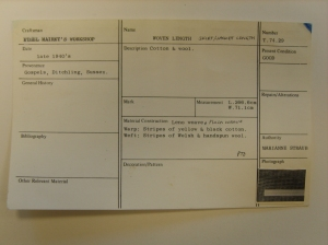 Marianne Straub's archive accession card